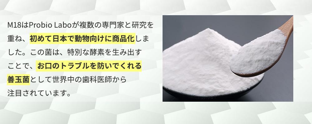 M18はProbio Laboがオタゴ大学と交渉し、2010年に初めて日本で商品化しました。この菌は、特別な酵素を生み出すことで、お口のトラブルを防いでくれる善玉菌として世界中の歯科医師から注目されています。